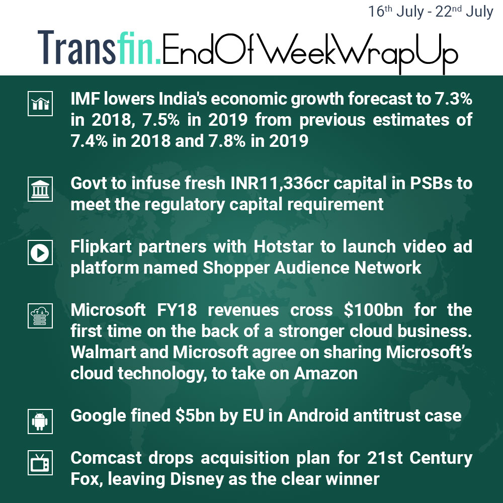 End of Week Wrap-up (July 16, 2018 - July 22, 2018) #IMF #GDP #India #Flipkart #Hotstar #ShopperAudienceNetwork #PSB #Microsoft #Walmart #Amazon #Cloud #Google #Android #Comcast #Fox #Disney #Transfin