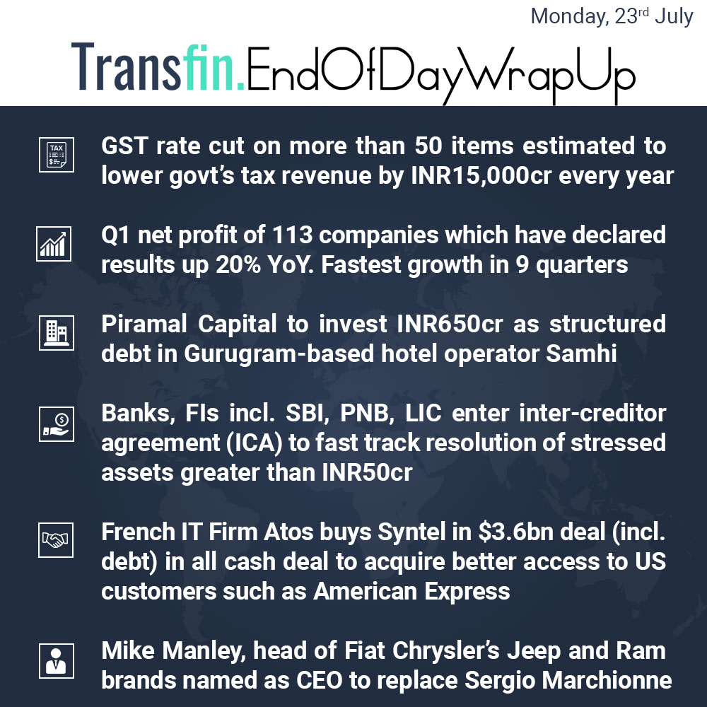 End of Day Wrap-up (Monday / July 23, 2018) #GST #GSTCouncil #profit #PiramalCapital #Samhi #SBI #PNB #LIC #IT #Atos #Syntel #US #AmericanExpress #MikeManley #SergioMarchionne #FiatChrysler #Jeep #Ram #CEO #Transfin