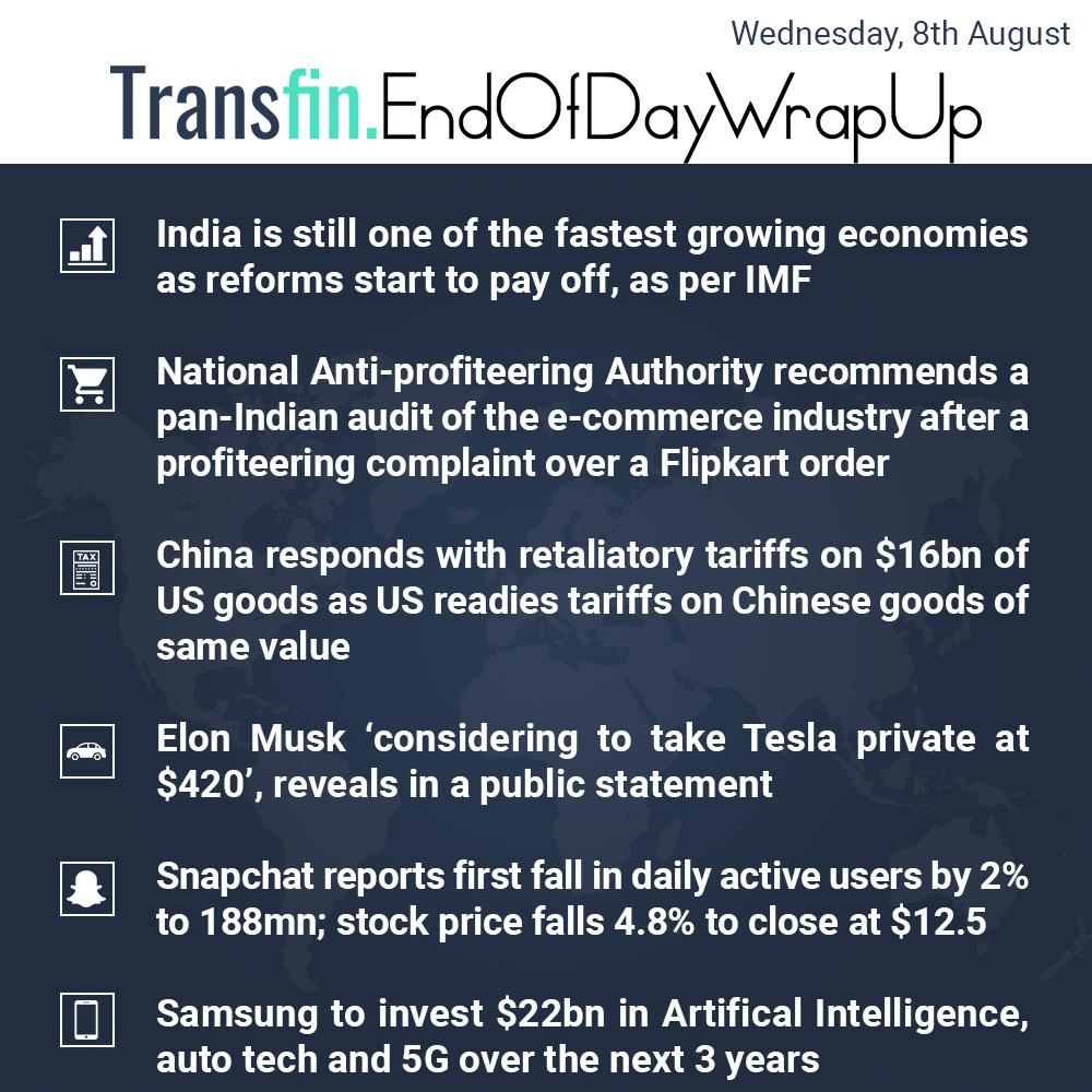 End of Day Wrap-up (Wednesday / Aug 8, 2018) #India #IMF #Indianeconomy #Flipkart #ecommerce #China #US #tradewars #ElonMusk #Tesla #Snapchat #Samsung #Transfin