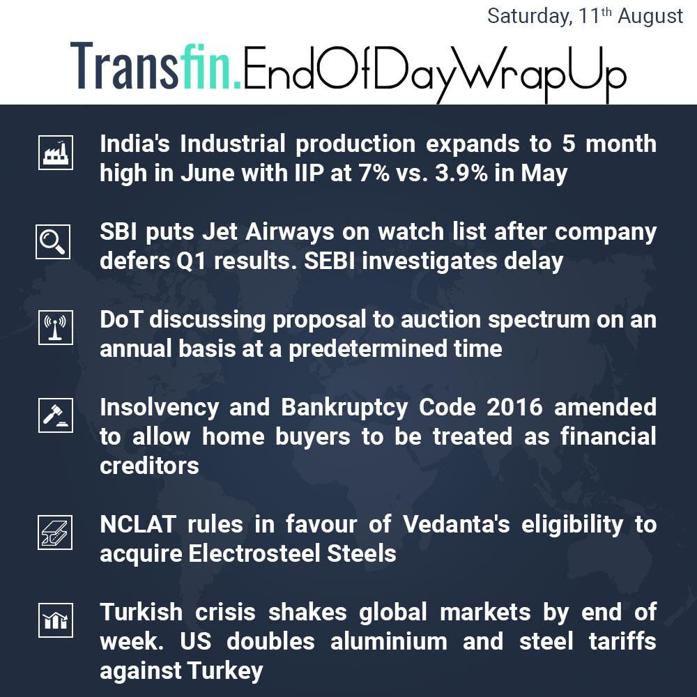 End of Day Wrap-up (Saturday / Aug 11, 2018) #India #IIP #May #SBI #JetAirways #aluminium #steel #DoT #IBC #NCLAT #Turkey #Turkish #Lira #US #INR #Transfin