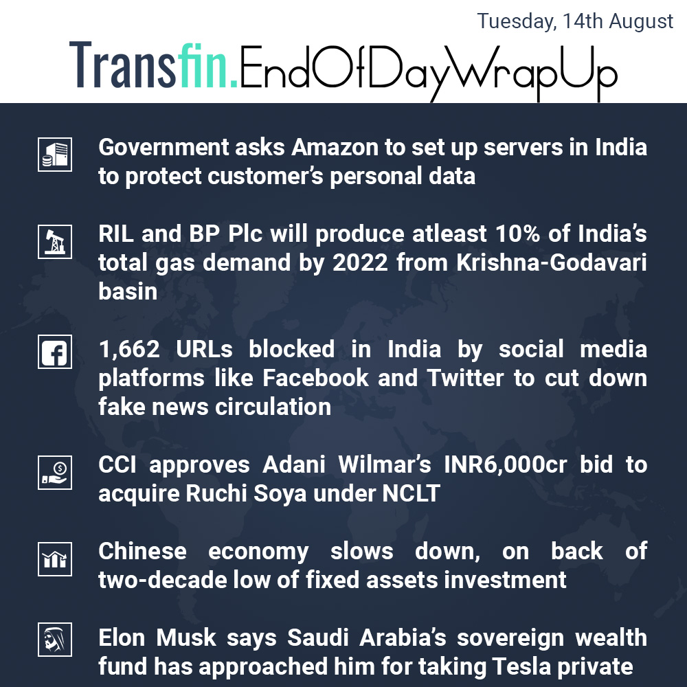 Amazon to Save Data in India, China Slows Down et al.