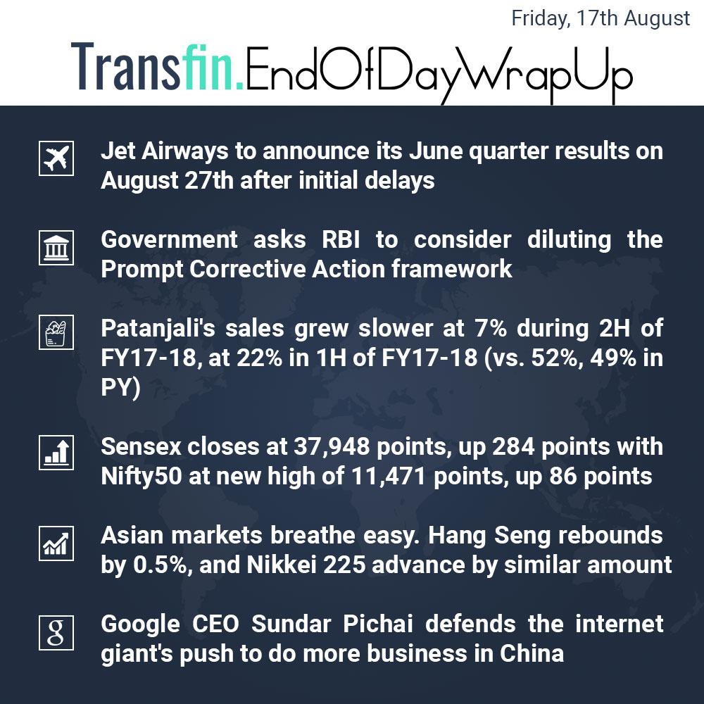 End of Day Wrap-up (Friday / Aug 17, 2018) #JetAirways #RBI #Patanjali #Ramdev #Sensex #Nifty50 #HangSeng #Nikkei #Google #SundarPichai #China #Transfin
