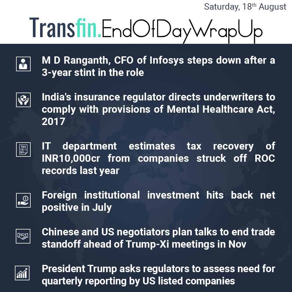 End of Day Wrap-up (Saturday / Aug 18, 2018) #Infosys #insurance #IT #tax #Chinese #China #US #tradewar #Trump #DonaldTrump #XiJinping #Transfin