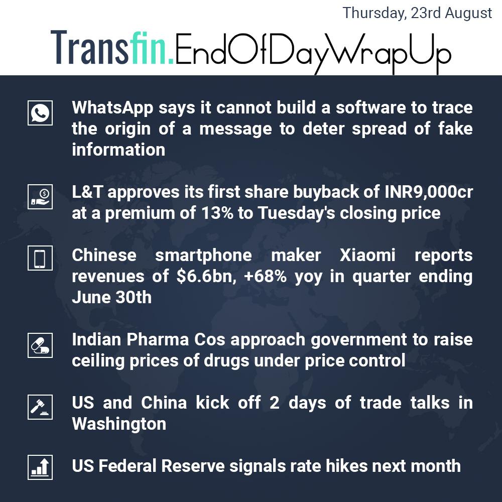 End of Day Wrap-up (Thursday / Aug 23, 2018) #Transfin #WhatsApp #fakenews #L&T #US #China #Xiaomi #Pharma #US #China #tradewars #Fed #FederalReserve #FederalRates #Transfin