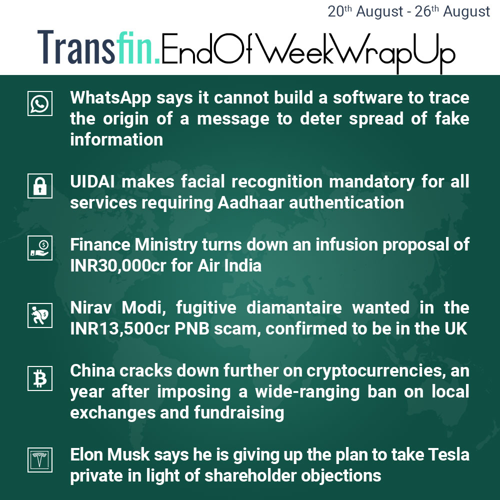 End of Week Wrap-up (August 20, 2018 - August 26, 2018) #WhatsApp #FakeNews #ChrisDaniels #IT #RaviShankarPrasad #UIDAI #Aadhaar #AirIndia #FinanceMinistry #NiravModi #PNBScam #PNB #China #Cryptocurrency #Bitcoin #Litecoin #Ripple #Ethereum #Musk #ElonMusk #Tesla #Transfin
