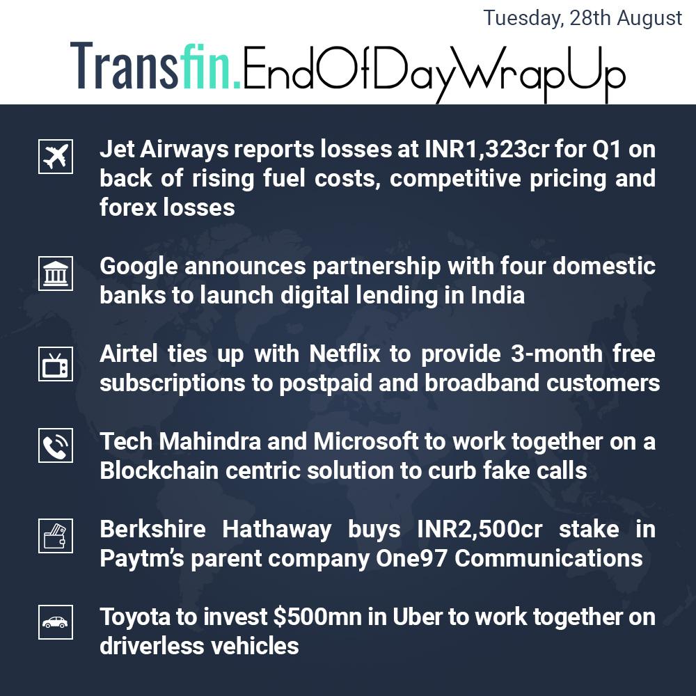 End of Day Wrap-up (Tuesday/ Aug 28, 2018) #JetAirways #Q1 #Google #HDFCBank #ICICIBank #KotakMahindra #FederalBank #Airtel #Netflix #TechMahindra #Microsoft #Blockchain #BerkshireHathaway #Paytm #Toyota #Uber #Transfin