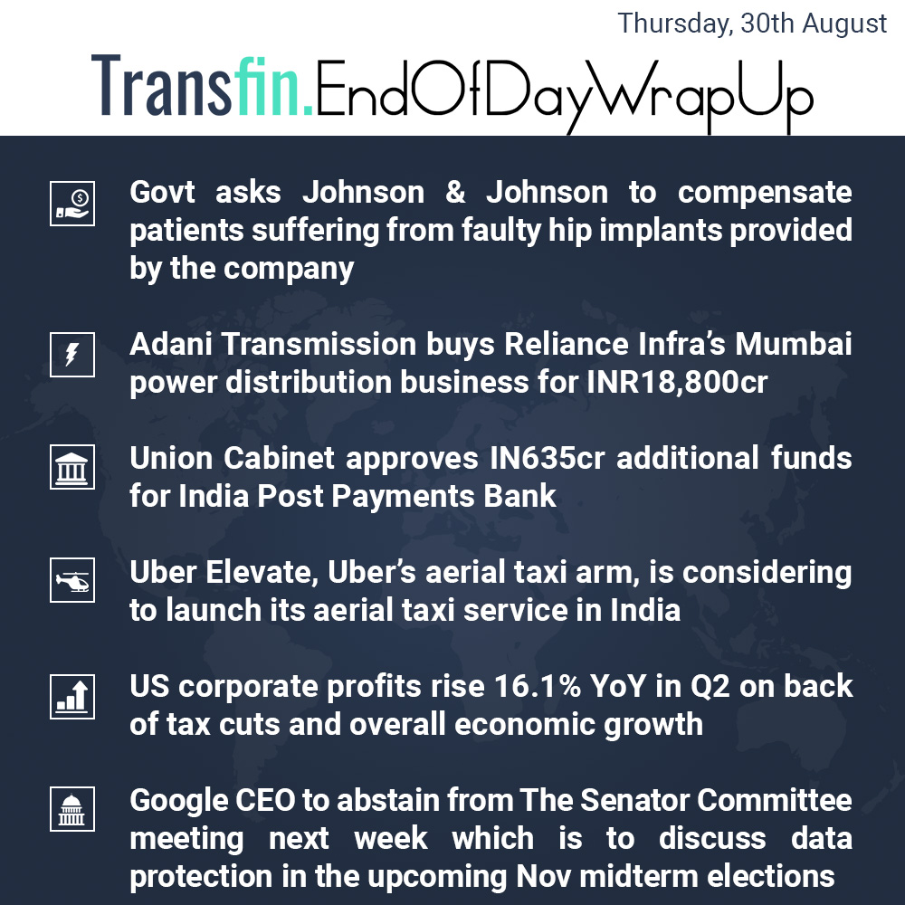 End of Day Wrap-up (Tuesday/ Aug 28, 2018) #Government #Uber #India #US #Dallas #LosAngeles #Google #Facebook #Twitter #Senate #RelianceInfra #Adani #Mumbai #PostPaymentsBank #CorporateProfits #GDP #Transfin