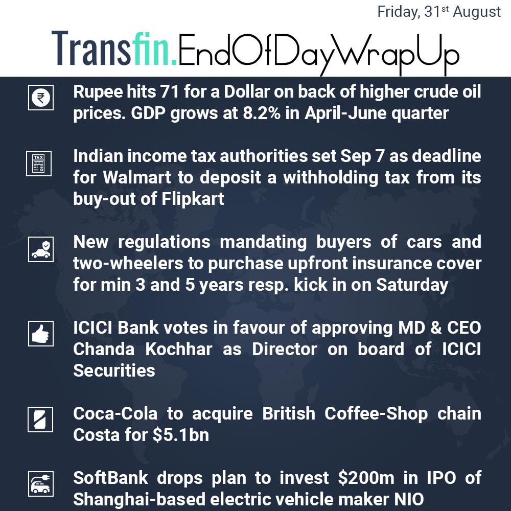 End of Day Wrap-up (Friday/ Aug 31, 2018) #Rupee #Rupeeat71 #Dollar #crudeoil #GDP #tax #Walmart #Flipkart #cars #ICICIBank #ChandaKochhar #MD #CEO #CocaCola #Costa #SoftBank #IPO #NIO #Shanghai #Transfin