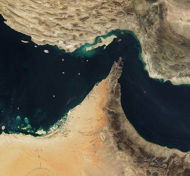 The narrow Strait of Homuz lies between Iran and the Saudi Arabia.